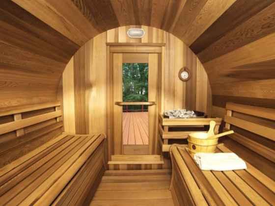 """Sauna Rond Red Cédar - """"Baril"""" avec porche 214x244 cm"""