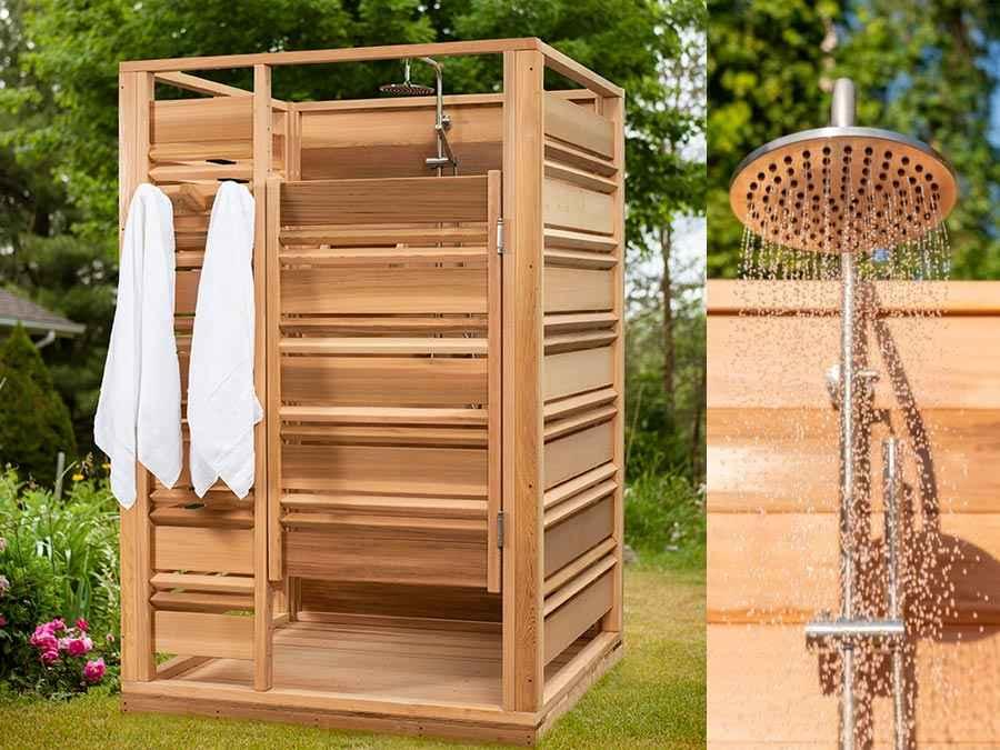 Douche d'extérieur en bois modèle carré