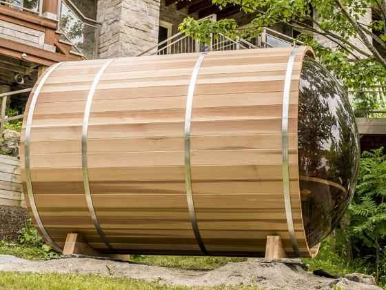 """Sauna Rond Bulle Red Cédar - """"Baril"""" avec porche 188x244 cm"""