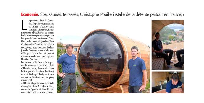 Sauna bulle : article sur Kariboo dans Midi Libre